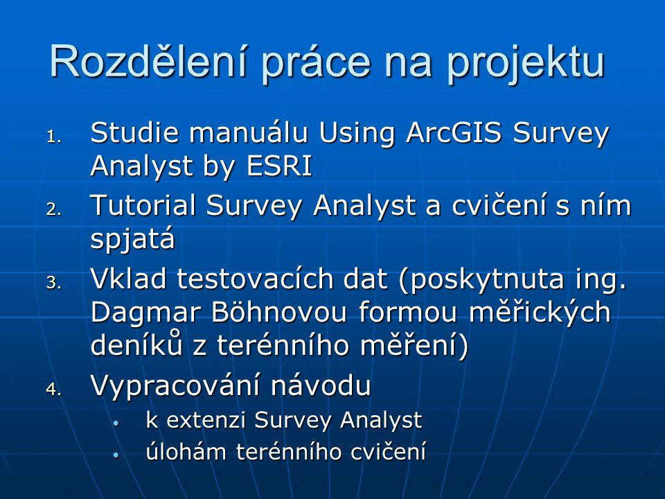 Rozdělení práce na projektu 1. Studie manuálu Using ArcGIS Survey Analyst by ESRI 2. Tutorial Survey Analyst a cvičení s ním spjatá 3. Vklad testovací