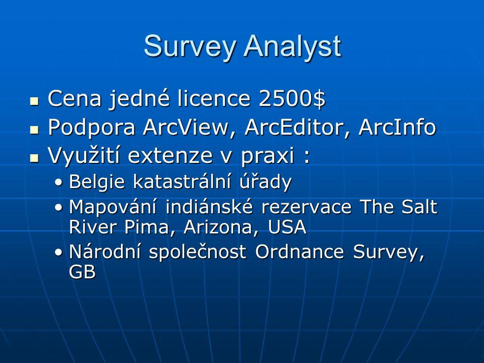Survey Analyst Cena jedné licence 2500$ Cena jedné licence 2500$ Podpora ArcView, ArcEditor, ArcInfo Podpora ArcView, ArcEditor, ArcInfo Využití exten