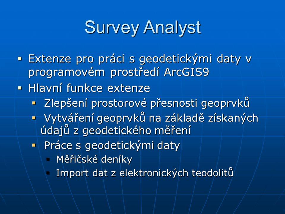 Survey Analyst  Extenze pro práci s geodetickými daty v programovém prostředí ArcGIS9  Hlavní funkce extenze  Zlepšení prostorové přesnosti geoprvk