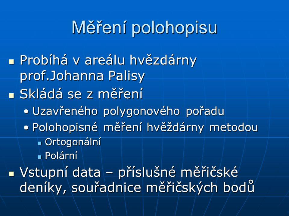 Měření polohopisu Probíhá v areálu hvězdárny prof.Johanna Palisy Probíhá v areálu hvězdárny prof.Johanna Palisy Skládá se z měření Skládá se z měření