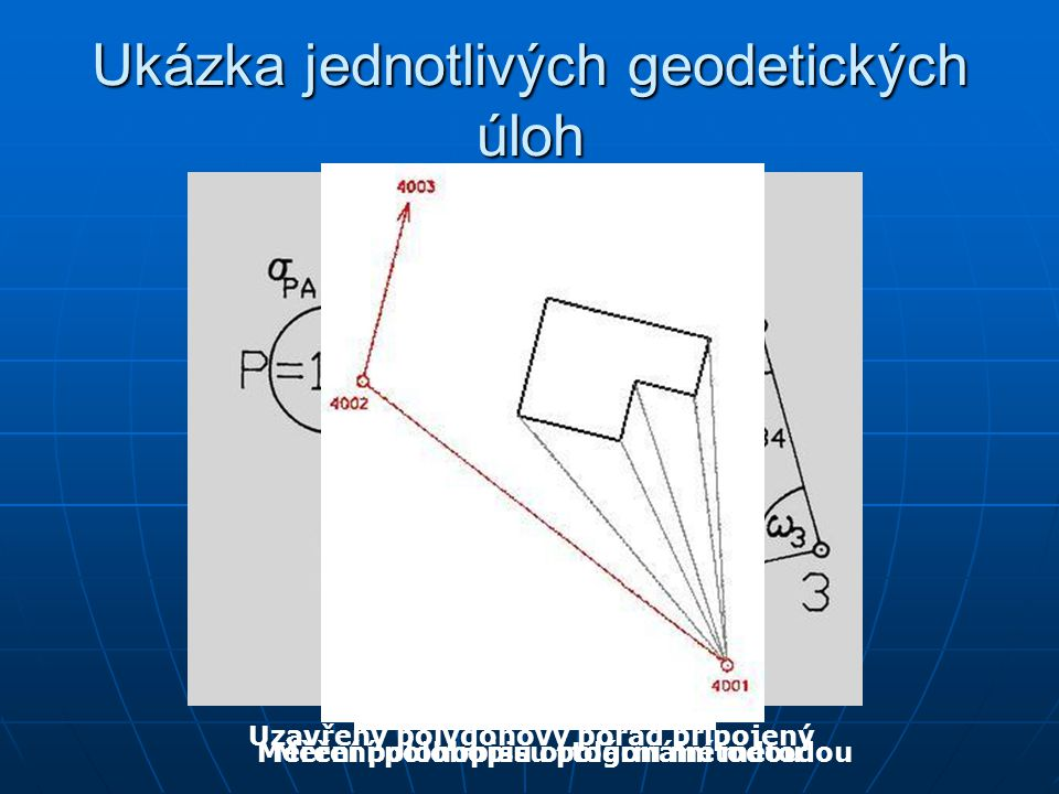 Ukázka jednotlivých geodetických úloh Uzavřený polygonový pořad připojený Měření polohopisu polární metodouMěření polohopisu ortogonální metodou