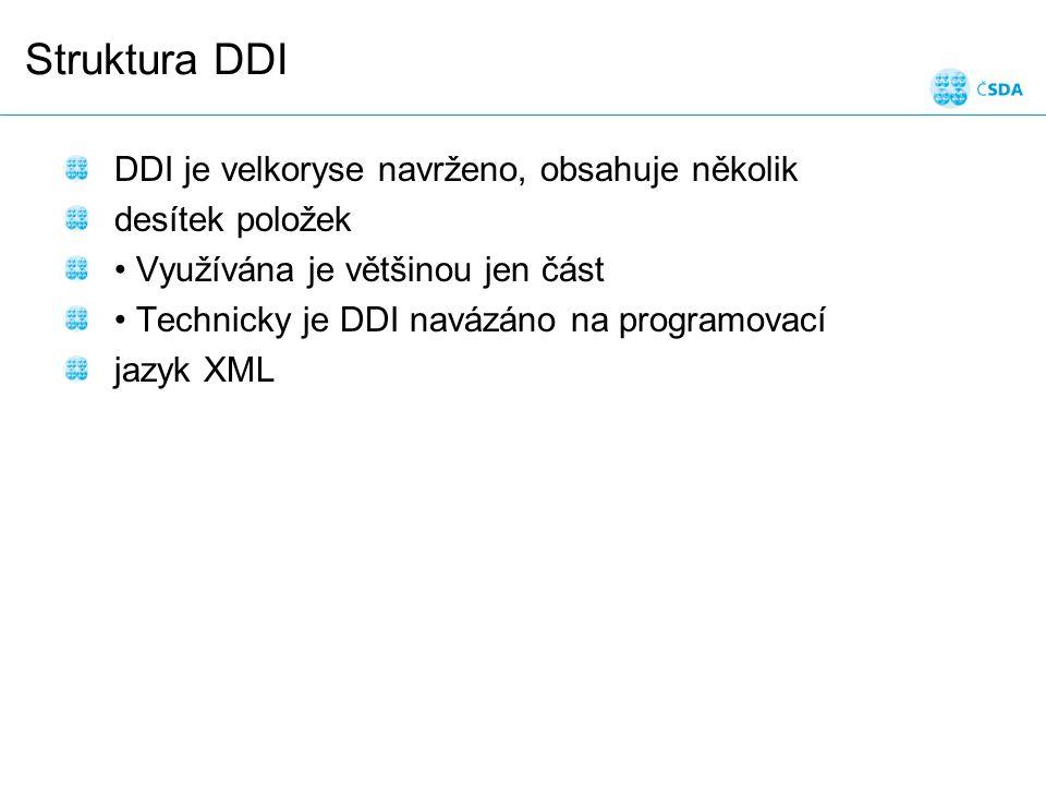 Struktura DDI DDI je velkoryse navrženo, obsahuje několik desítek položek Využívána je většinou jen část Technicky je DDI navázáno na programovací jazyk XML