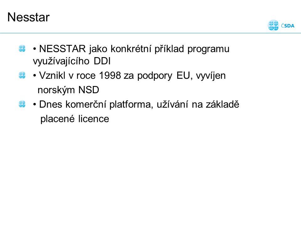 Nesstar NESSTAR jako konkrétní příklad programu využívajícího DDI Vznikl v roce 1998 za podpory EU, vyvíjen norským NSD Dnes komerční platforma, užívání na základě placené licence
