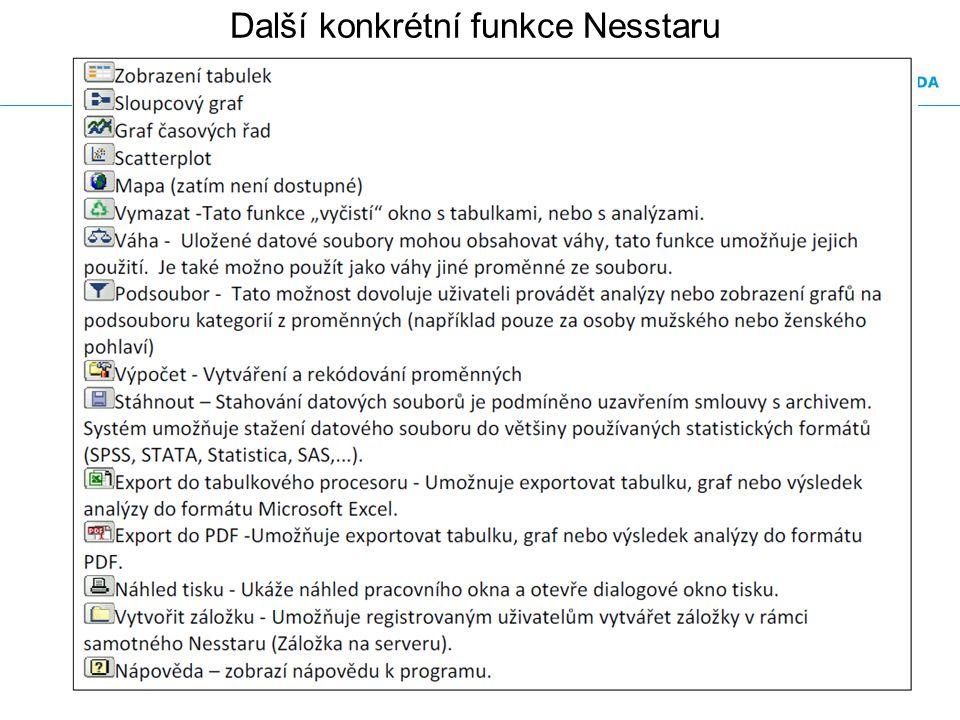 Další konkrétní funkce Nesstaru