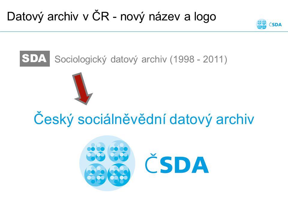 Datový archiv v ČR - nový název a logo SDA Sociologický datový archiv (1998 - 2011) Český sociálněvědní datový archiv