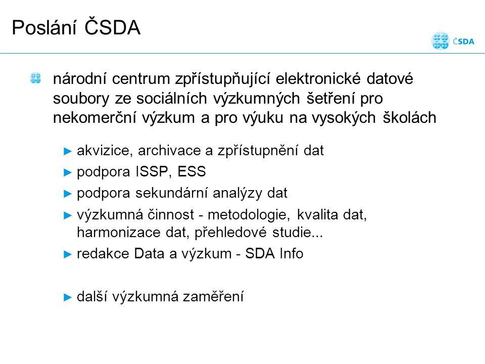 Poslání ČSDA národní centrum zpřístupňující elektronické datové soubory ze sociálních výzkumných šetření pro nekomerční výzkum a pro výuku na vysokých školách ► akvizice, archivace a zpřístupnění dat ► podpora ISSP, ESS ► podpora sekundární analýzy dat ► výzkumná činnost - metodologie, kvalita dat, harmonizace dat, přehledové studie...