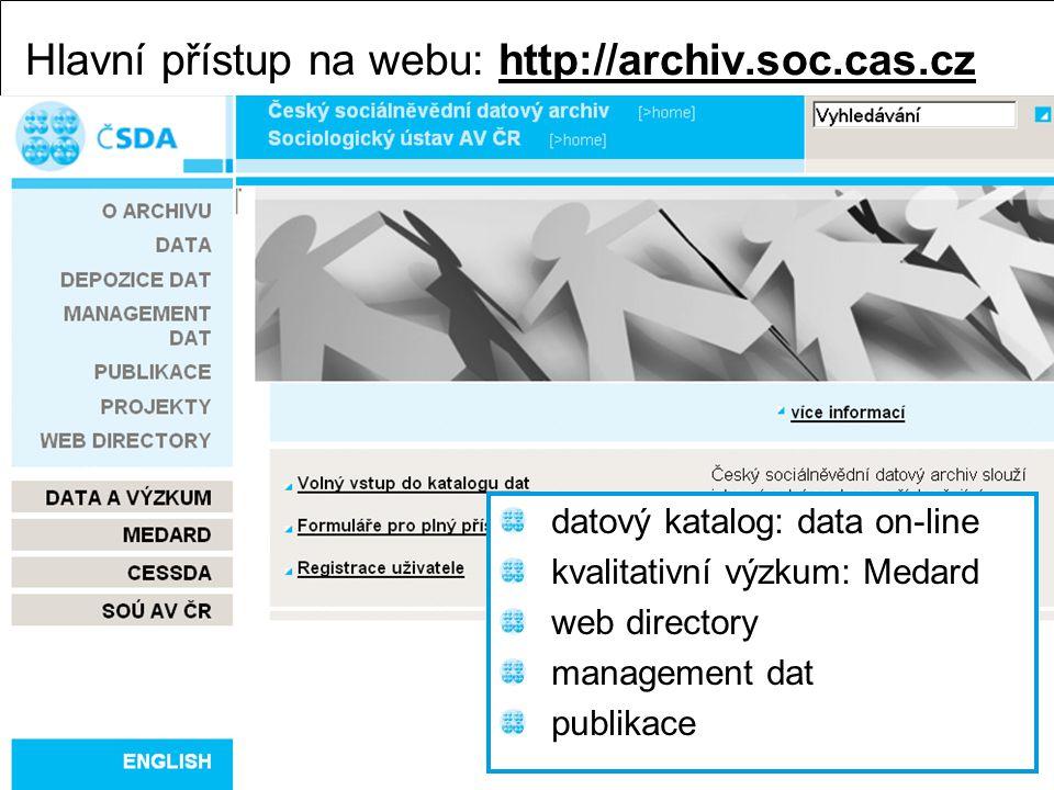 Také německý Zentral archiv využívá pro zpřístupňování dat Nesstar http://zacat.gesis.org/webview/index.jspZentral archiv Tento archiv je z hlediska českého výzkumníka významný proto, že zpřístupňuje mezinárodní datové soubory – například z výzkumů ISSP nebo EVS