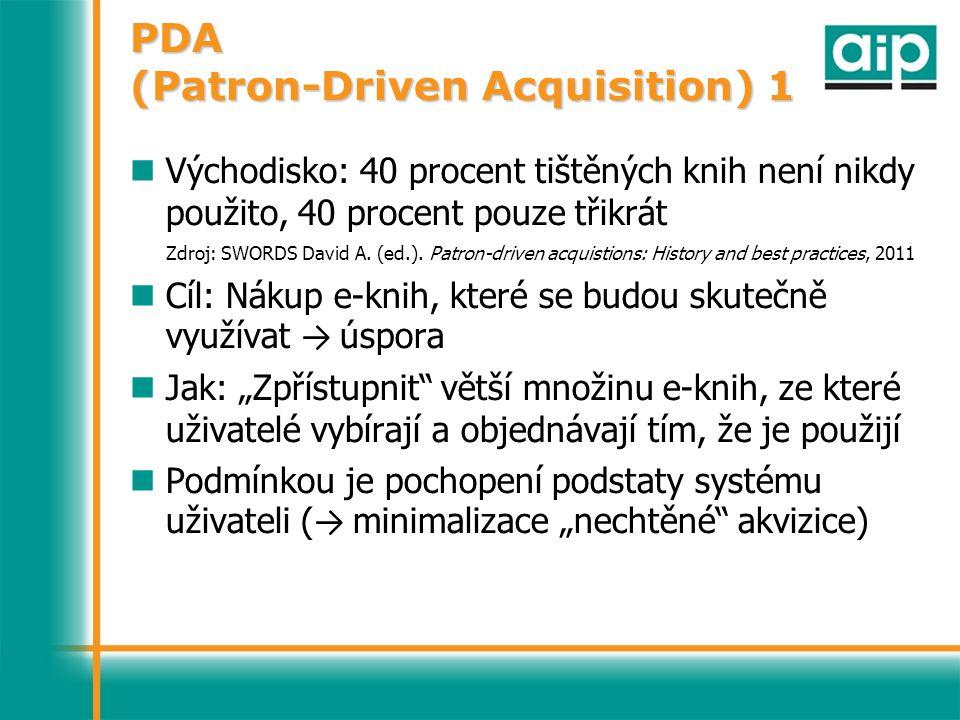 PDA (Patron-Driven Acquisition) 1 Východisko: 40 procent tištěných knih není nikdy použito, 40 procent pouze třikrát Zdroj: SWORDS David A.