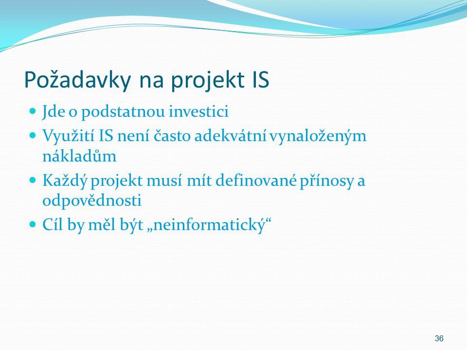 Požadavky na projekt IS Jde o podstatnou investici Využití IS není často adekvátní vynaloženým nákladům Každý projekt musí mít definované přínosy a od