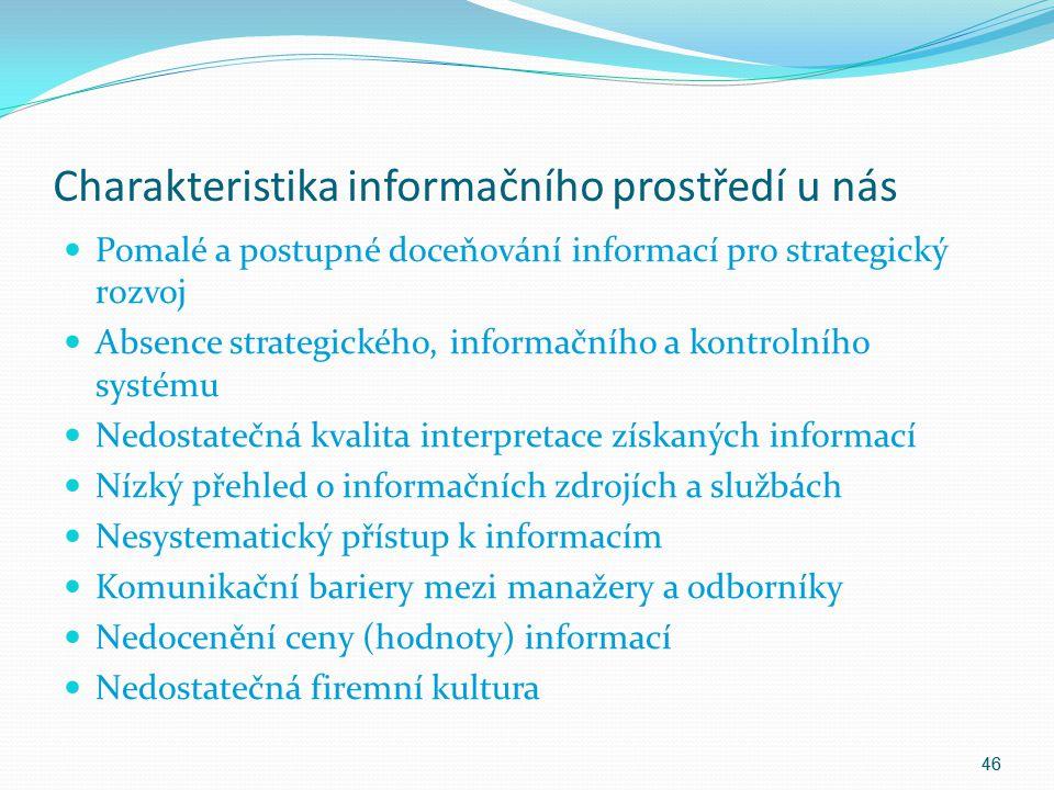 Charakteristika informačního prostředí u nás Pomalé a postupné doceňování informací pro strategický rozvoj Absence strategického, informačního a kontr