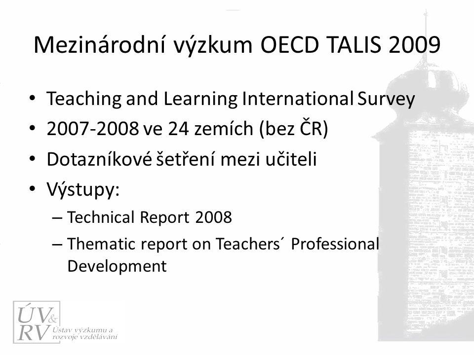 Mezinárodní výzkum OECD TALIS 2009 Teaching and Learning International Survey 2007-2008 ve 24 zemích (bez ČR) Dotazníkové šetření mezi učiteli Výstupy: – Technical Report 2008 – Thematic report on Teachers´ Professional Development