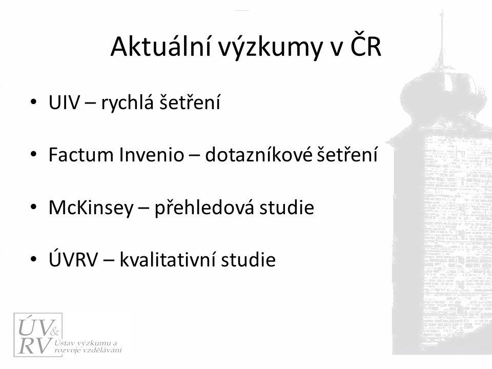 Aktuální výzkumy v ČR UIV – rychlá šetření Factum Invenio – dotazníkové šetření McKinsey – přehledová studie ÚVRV – kvalitativní studie