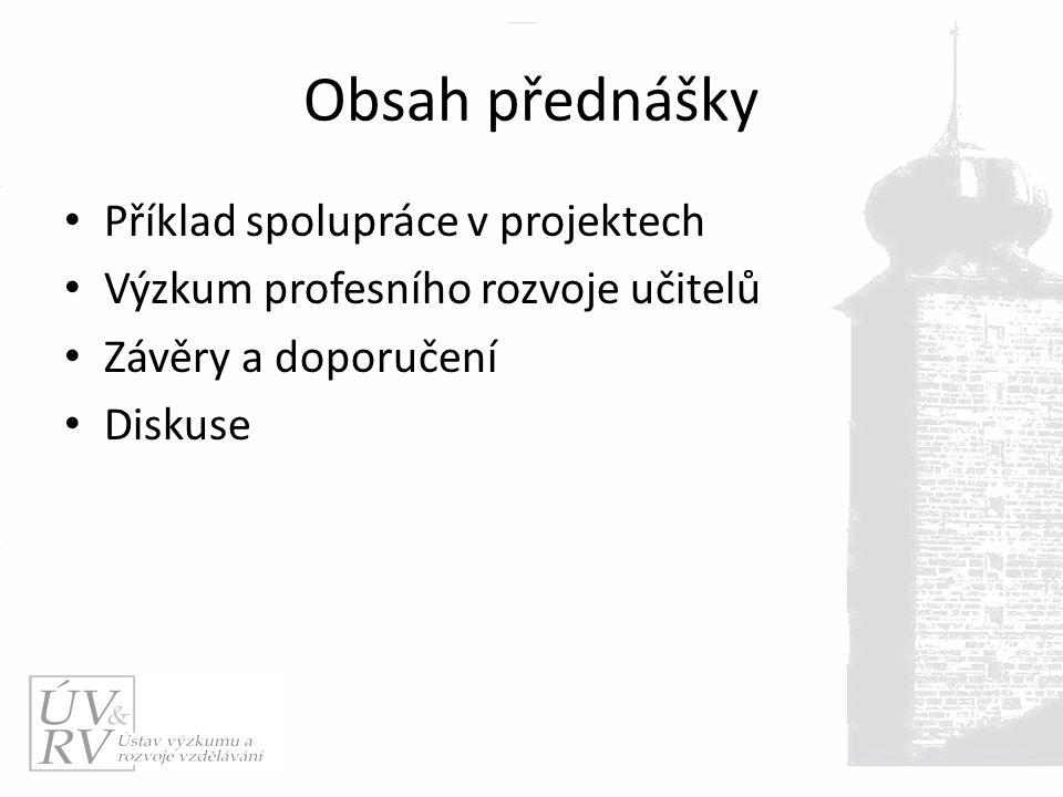 Obsah přednášky Příklad spolupráce v projektech Výzkum profesního rozvoje učitelů Závěry a doporučení Diskuse