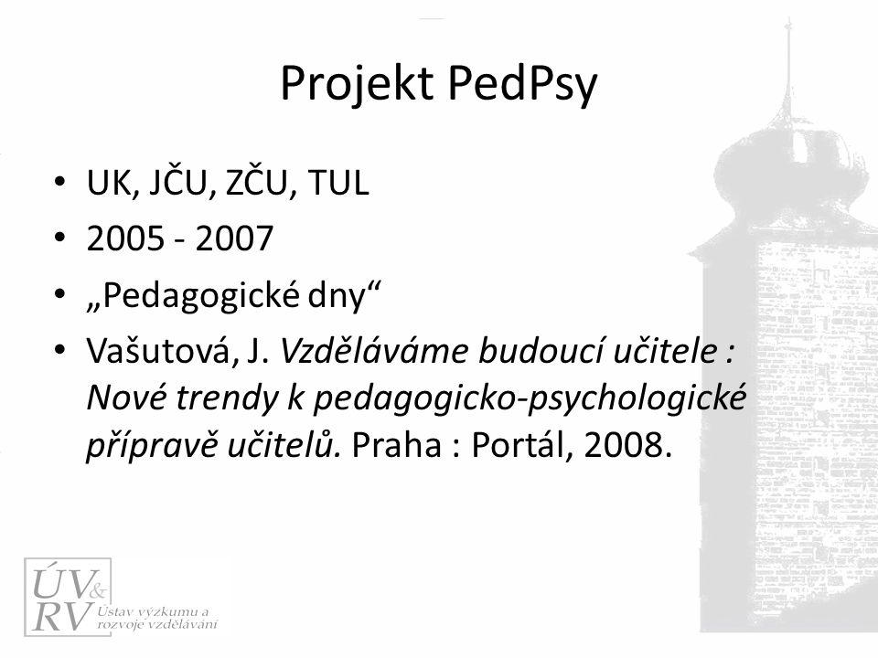 """Projekt PedPsy UK, JČU, ZČU, TUL 2005 - 2007 """"Pedagogické dny Vašutová, J."""
