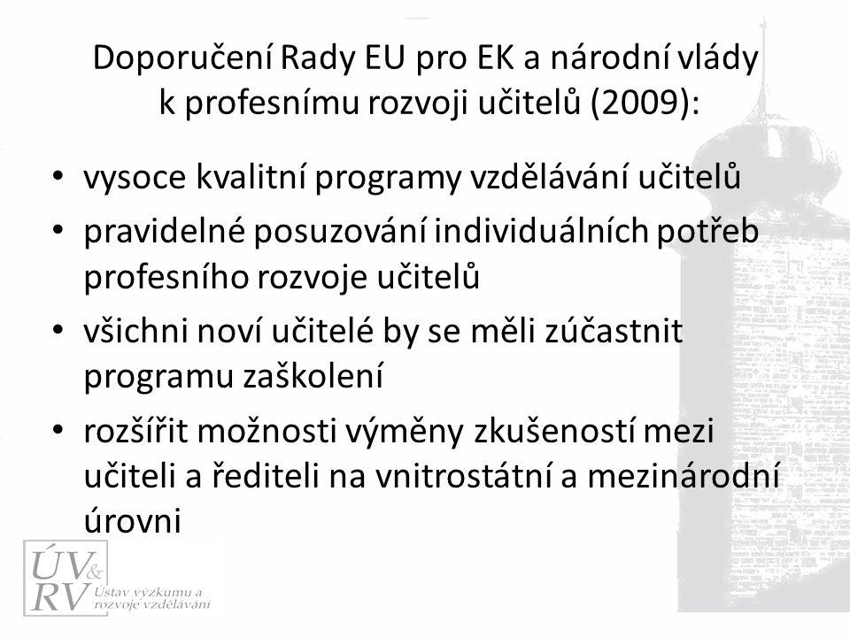 Doporučení Rady EU pro EK a národní vlády k profesnímu rozvoji učitelů (2009): vysoce kvalitní programy vzdělávání učitelů pravidelné posuzování individuálních potřeb profesního rozvoje učitelů všichni noví učitelé by se měli zúčastnit programu zaškolení rozšířit možnosti výměny zkušeností mezi učiteli a řediteli na vnitrostátní a mezinárodní úrovni