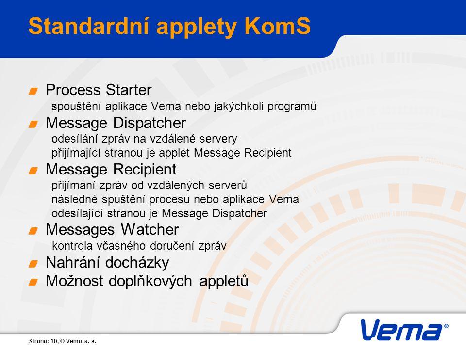 Strana: 10, © Vema, a. s. Standardní applety KomS Process Starter spouštění aplikace Vema nebo jakýchkoli programů Message Dispatcher odesílání zpráv