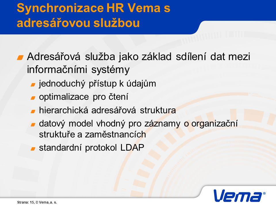 Strana: 15, © Vema, a. s. Synchronizace HR Vema s adresářovou službou Adresářová služba jako základ sdílení dat mezi informačními systémy jednoduchý p
