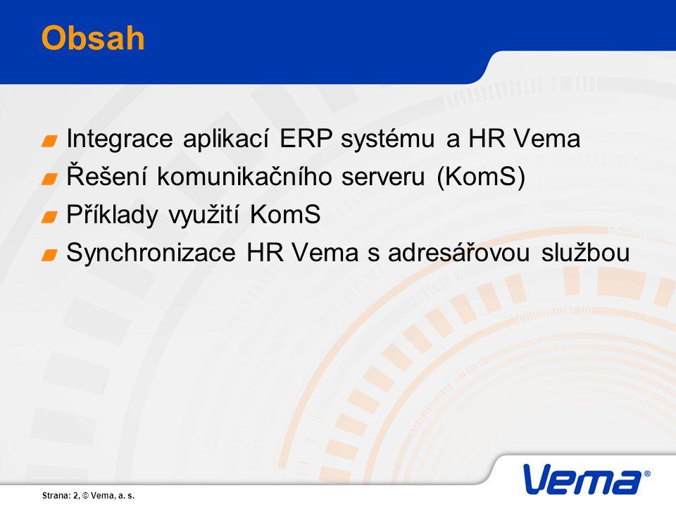 Strana: 2, © Vema, a. s. Obsah Integrace aplikací ERP systému a HR Vema Řešení komunikačního serveru (KomS) Příklady využití KomS Synchronizace HR Vem