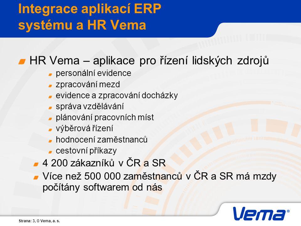 Strana: 3, © Vema, a. s. Integrace aplikací ERP systému a HR Vema HR Vema – aplikace pro řízení lidských zdrojů personální evidence zpracování mezd ev