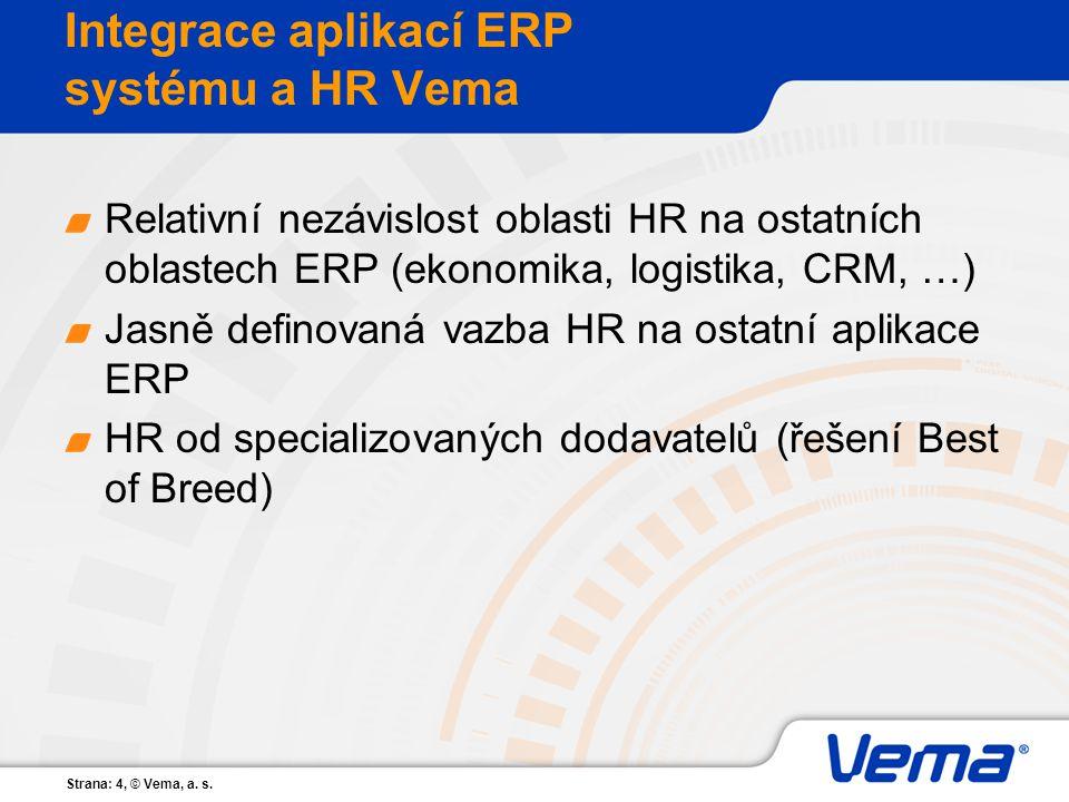 Strana: 4, © Vema, a. s. Integrace aplikací ERP systému a HR Vema Relativní nezávislost oblasti HR na ostatních oblastech ERP (ekonomika, logistika, C