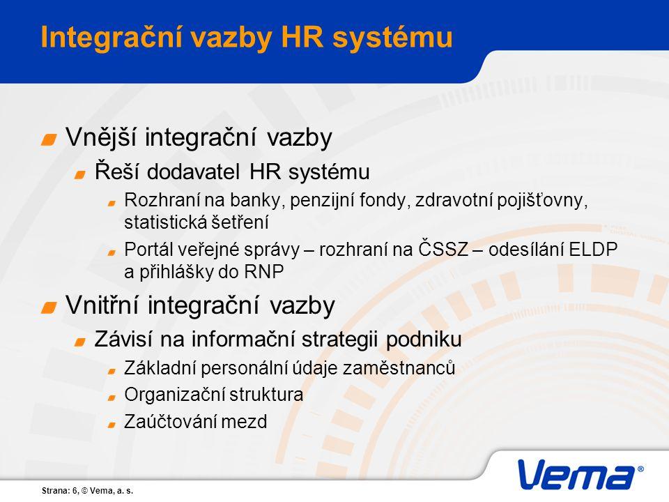 Strana: 6, © Vema, a. s. Integrační vazby HR systému Vnější integrační vazby Řeší dodavatel HR systému Rozhraní na banky, penzijní fondy, zdravotní po