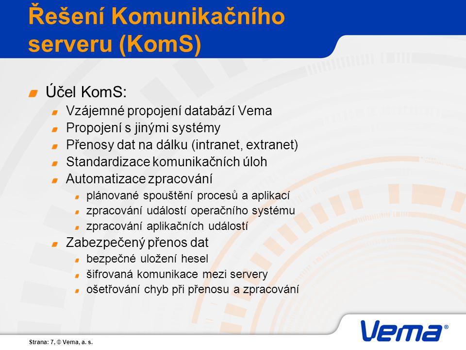 Strana: 7, © Vema, a. s. Řešení Komunikačního serveru (KomS) Účel KomS: Vzájemné propojení databází Vema Propojení s jinými systémy Přenosy dat na dál