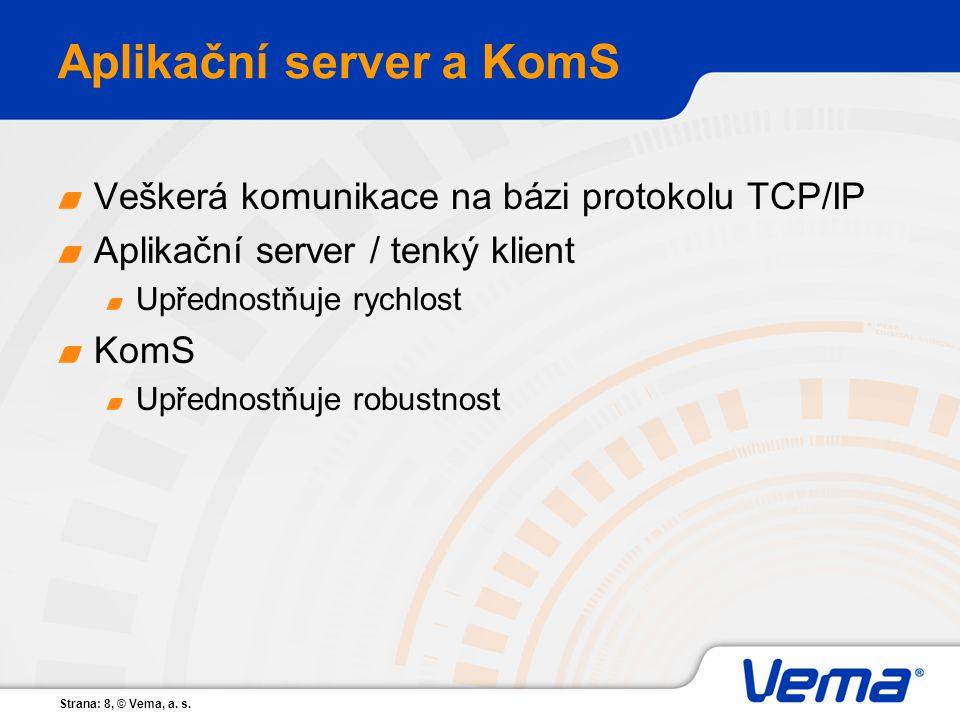 Strana: 8, © Vema, a. s. Aplikační server a KomS Veškerá komunikace na bázi protokolu TCP/IP Aplikační server / tenký klient Upřednostňuje rychlost Ko