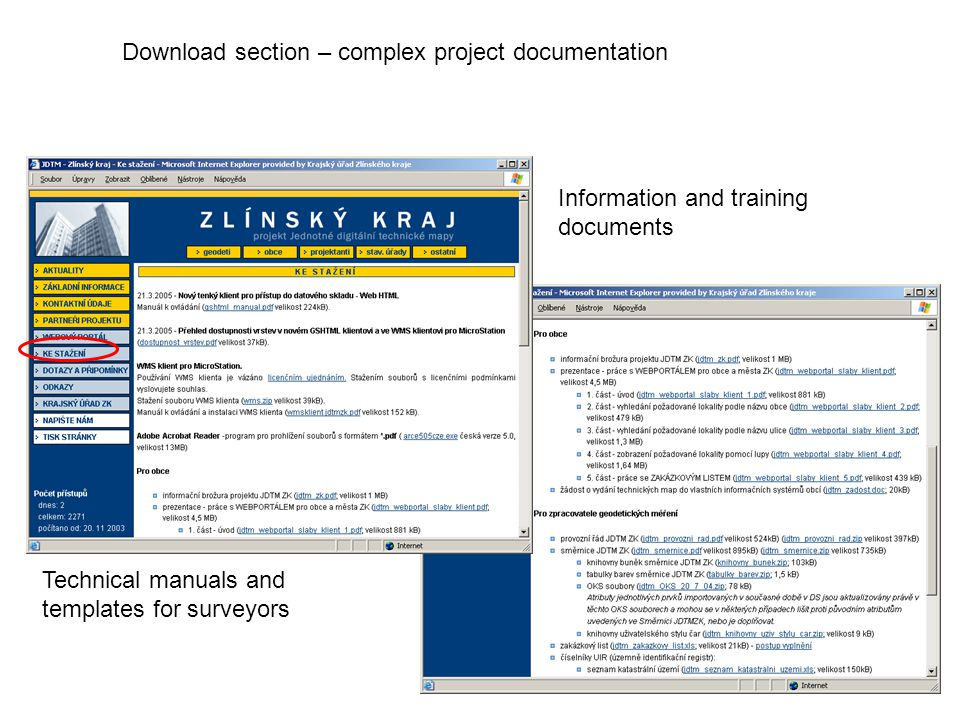 Download section – complex project documentation Technical manuals and templates for surveyors Information and training documents