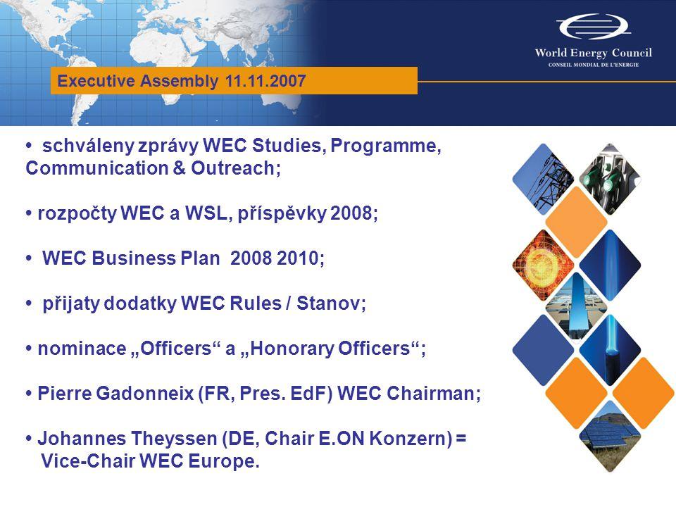 WEC Studies Committee Zasedání 11/2007 a pokrač.