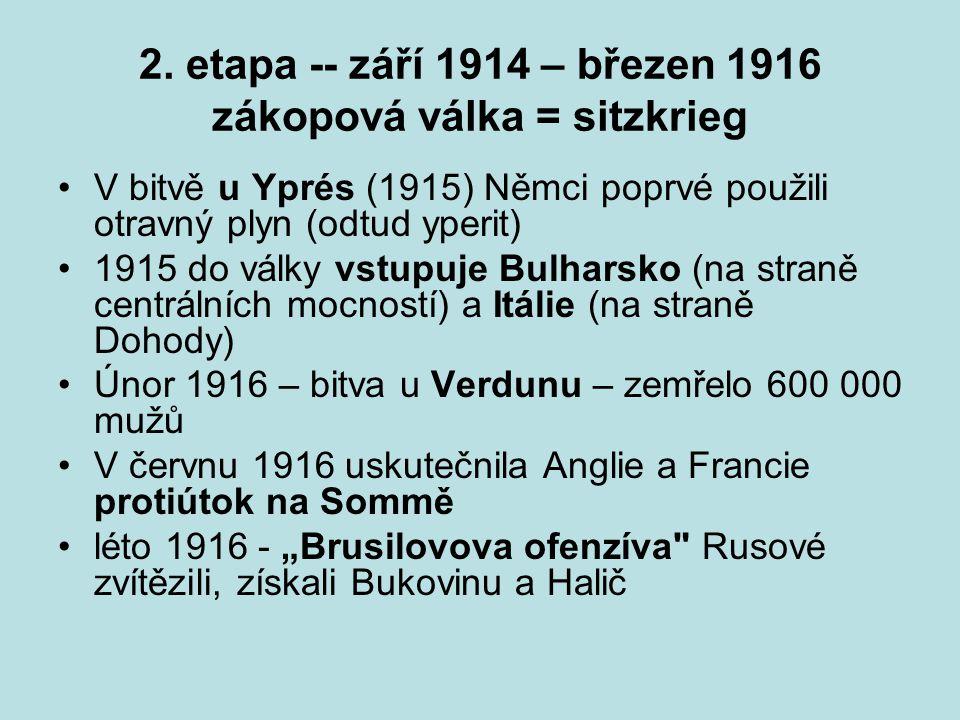 2. etapa -- září 1914 – březen 1916 zákopová válka = sitzkrieg V bitvě u Yprés (1915) Němci poprvé použili otravný plyn (odtud yperit) 1915 do války v
