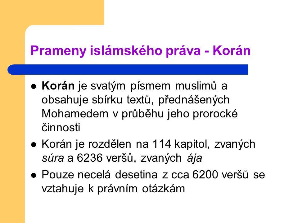 Prameny islámského práva - Korán Korán je svatým písmem muslimů a obsahuje sbírku textů, přednášených Mohamedem v průběhu jeho prorocké činnosti Korán je rozdělen na 114 kapitol, zvaných súra a 6236 veršů, zvaných ája Pouze necelá desetina z cca 6200 veršů se vztahuje k právním otázkám