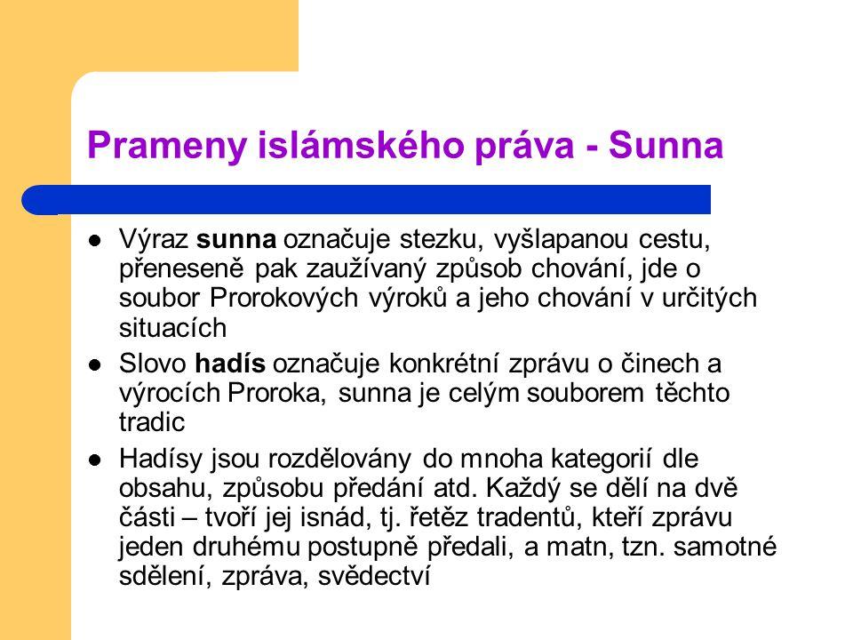Prameny islámského práva - Sunna Výraz sunna označuje stezku, vyšlapanou cestu, přeneseně pak zaužívaný způsob chování, jde o soubor Prorokových výrok