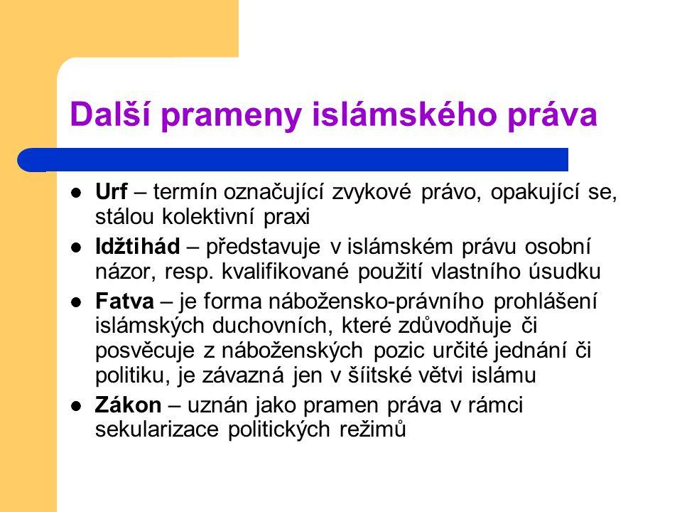 Další prameny islámského práva Urf – termín označující zvykové právo, opakující se, stálou kolektivní praxi Idžtihád – představuje v islámském právu o