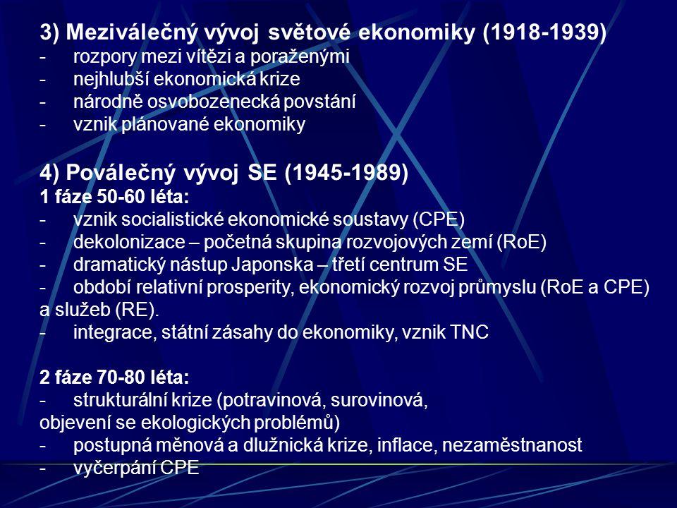3) Meziválečný vývoj světové ekonomiky (1918-1939) -rozpory mezi vítězi a poraženými -nejhlubší ekonomická krize -národně osvobozenecká povstání -vznik plánované ekonomiky 4) Poválečný vývoj SE (1945-1989) 1 fáze 50-60 léta: -vznik socialistické ekonomické soustavy (CPE) -dekolonizace – početná skupina rozvojových zemí (RoE) -dramatický nástup Japonska – třetí centrum SE -období relativní prosperity, ekonomický rozvoj průmyslu (RoE a CPE) a služeb (RE).