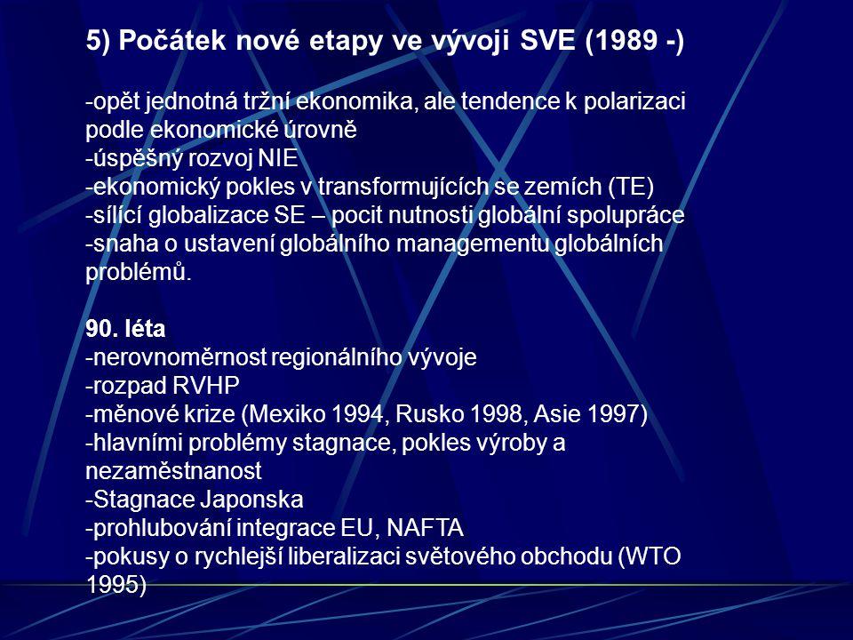 5) Počátek nové etapy ve vývoji SVE (1989 -) -opět jednotná tržní ekonomika, ale tendence k polarizaci podle ekonomické úrovně -úspěšný rozvoj NIE -ekonomický pokles v transformujících se zemích (TE) -sílící globalizace SE – pocit nutnosti globální spolupráce -snaha o ustavení globálního managementu globálních problémů.