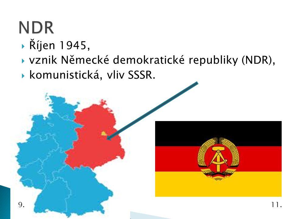  Říjen 1945,  vznik Německé demokratické republiky (NDR),  komunistická, vliv SSSR. 11.9.