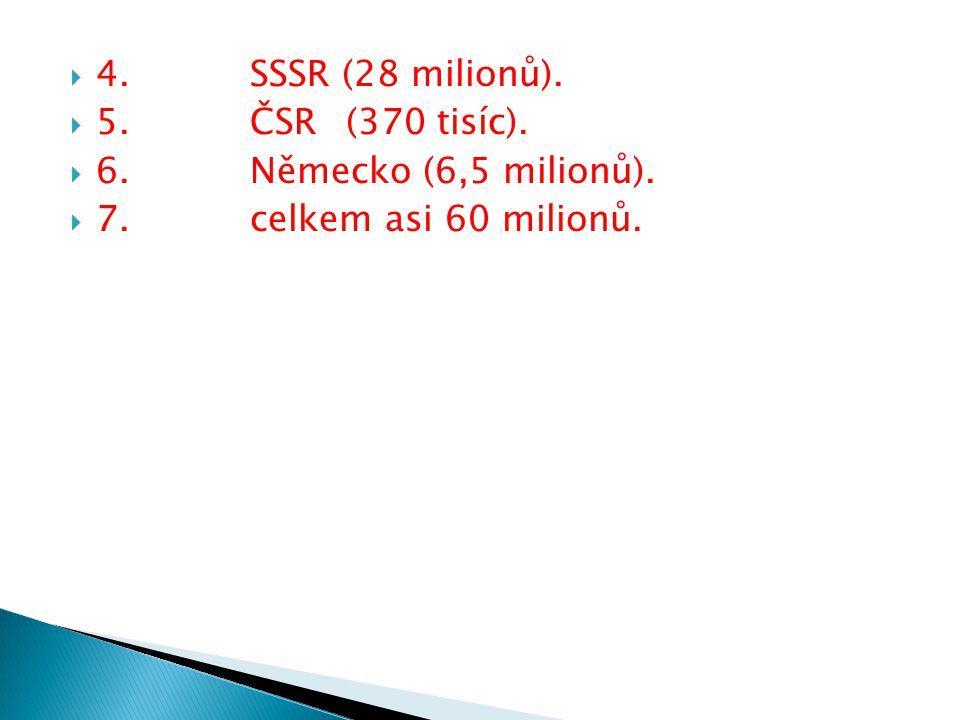  Lidské a hmotné ztráty  Až 60 milionů mrtvých (20 mil.