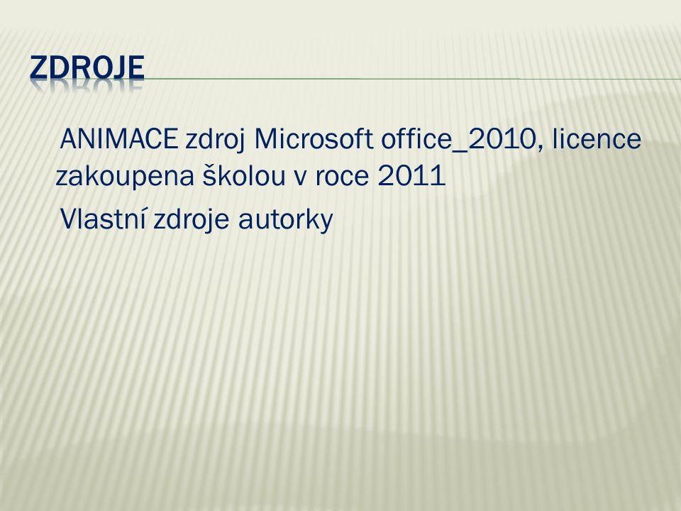 ANIMACE zdroj Microsoft office_2010, licence zakoupena školou v roce 2011 Vlastní zdroje autorky