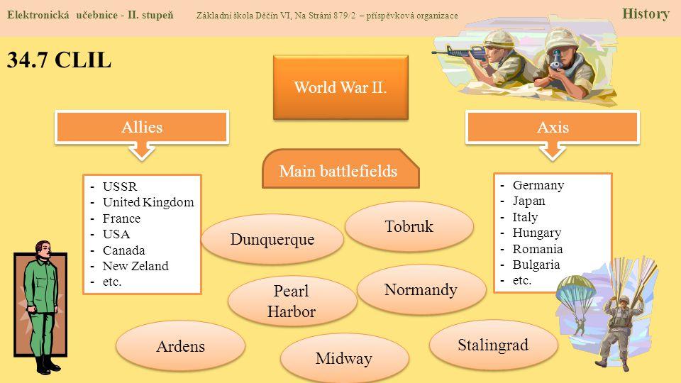 34.7 CLIL Elektronická učebnice - II. stupeň Základní škola Děčín VI, Na Stráni 879/2 – příspěvková organizace History World War II. Allies Axis -USSR