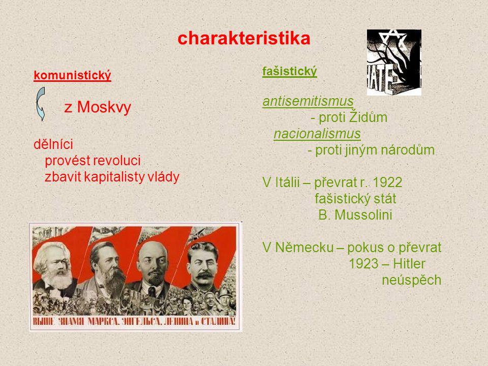 charakteristika komunistický z Moskvy dělníci provést revoluci zbavit kapitalisty vlády fašistický antisemitismus - proti Židům nacionalismus - proti