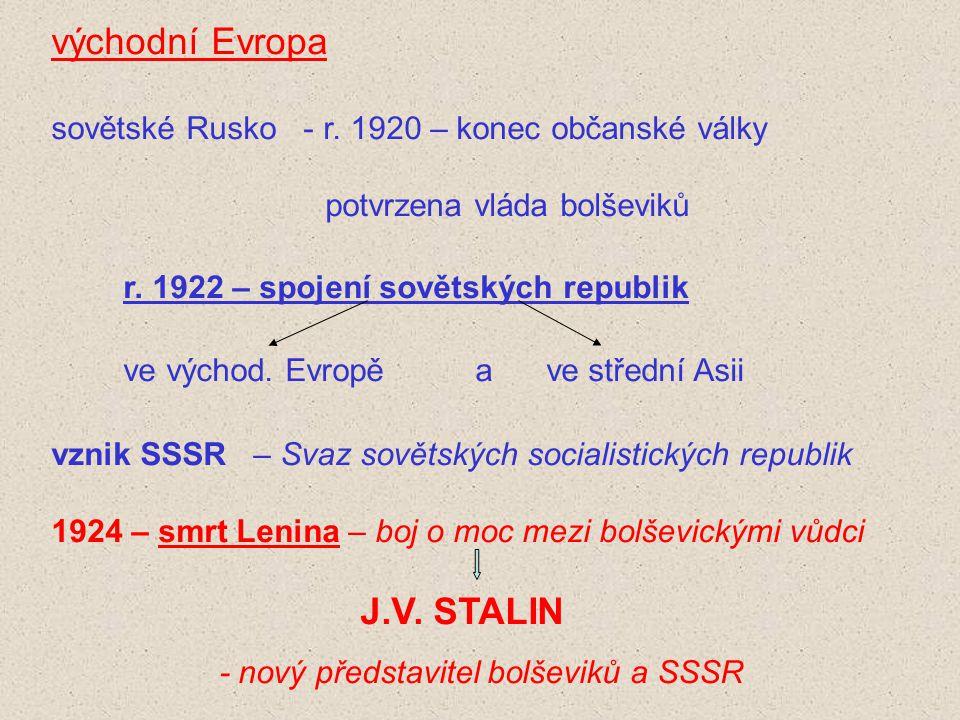 východní Evropa sovětské Rusko - r. 1920 – konec občanské války potvrzena vláda bolševiků r. 1922 – spojení sovětských republik ve východ. Evropě a ve
