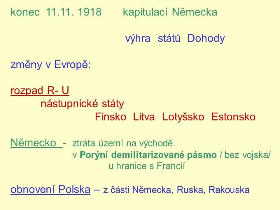 konec 11.11. 1918 kapitulací Německa výhra států Dohody změny v Evropě: rozpad R- U nástupnické státy Finsko Litva Lotyšsko Estonsko Německo - ztráta