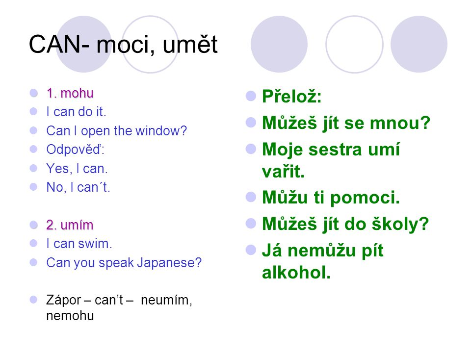 CAN- moci, umět 1.mohu 1. mohu I can do it. Can I open the window.