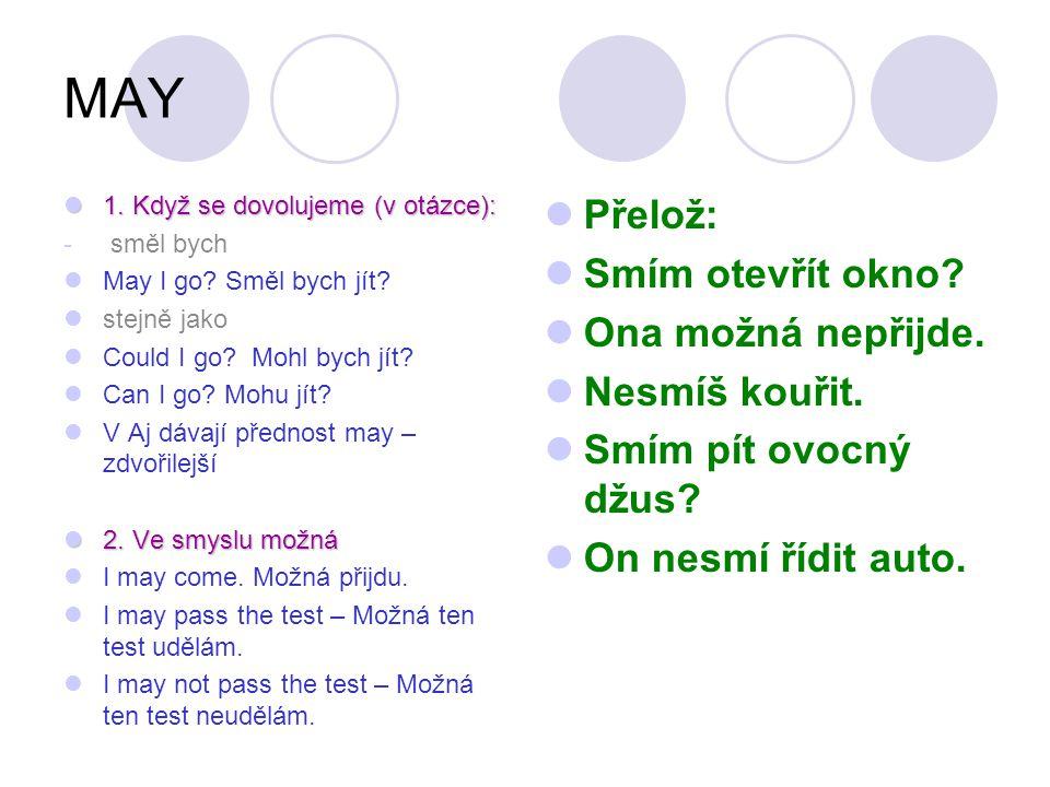 MAY 1. Když se dovolujeme (v otázce): 1. Když se dovolujeme (v otázce): - směl bych May I go? Směl bych jít? stejně jako Could I go? Mohl bych jít? Ca