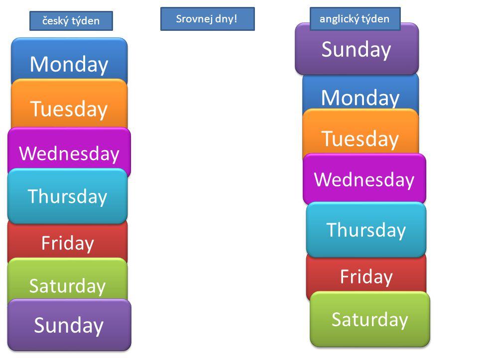 Monday Friday Saturday Tuesday Wednesday Thursday Sunday Srovnej dny.
