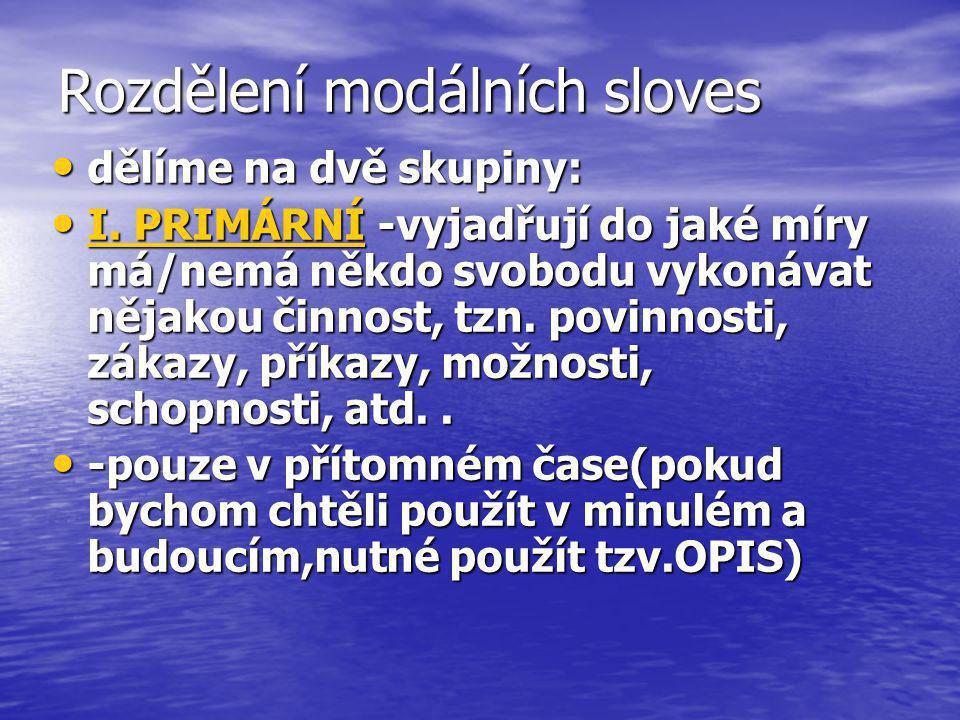 Rozdělení modálních sloves II.