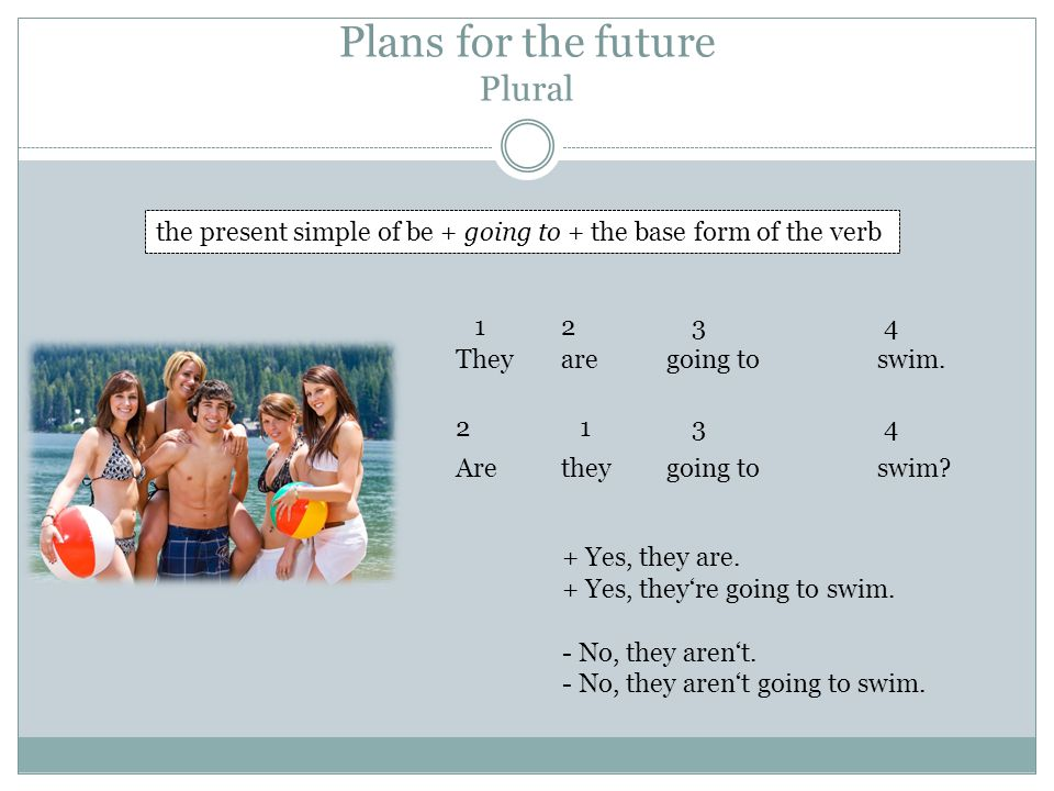 Plans for the future Plural the present simple of be + going to + the base form of the verb Theyaregoing to swim.