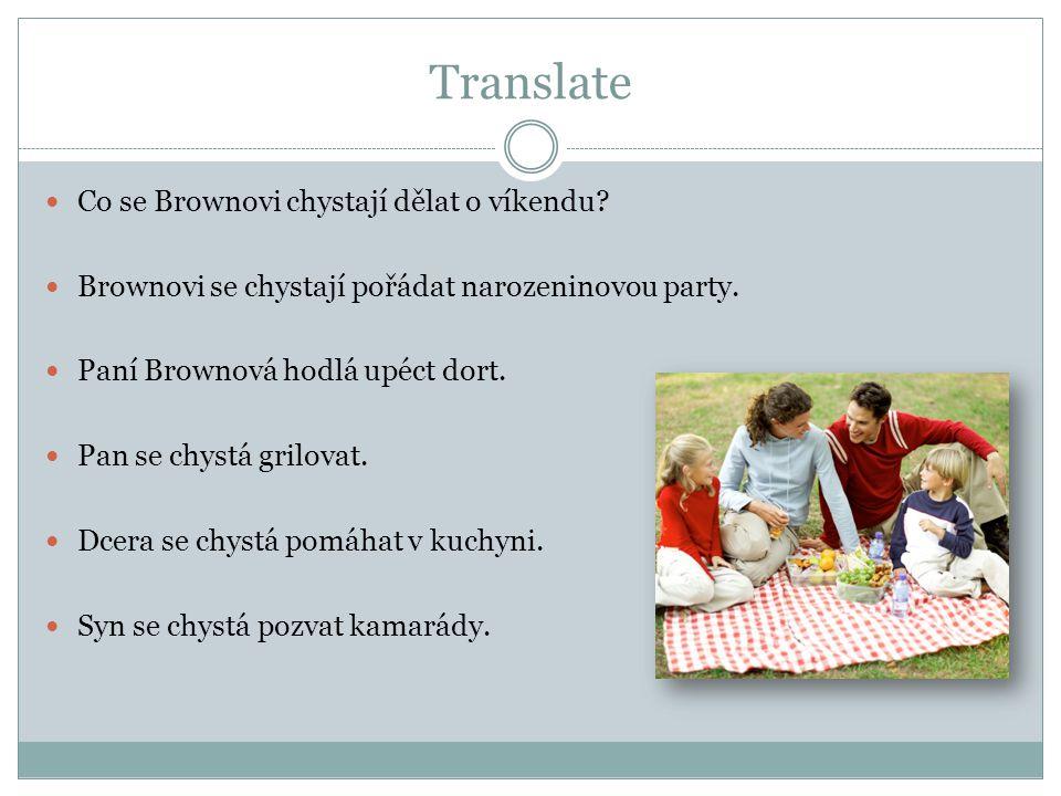 Translate Co se Brownovi chystají dělat o víkendu? Brownovi se chystají pořádat narozeninovou party. Paní Brownová hodlá upéct dort. Pan se chystá gri