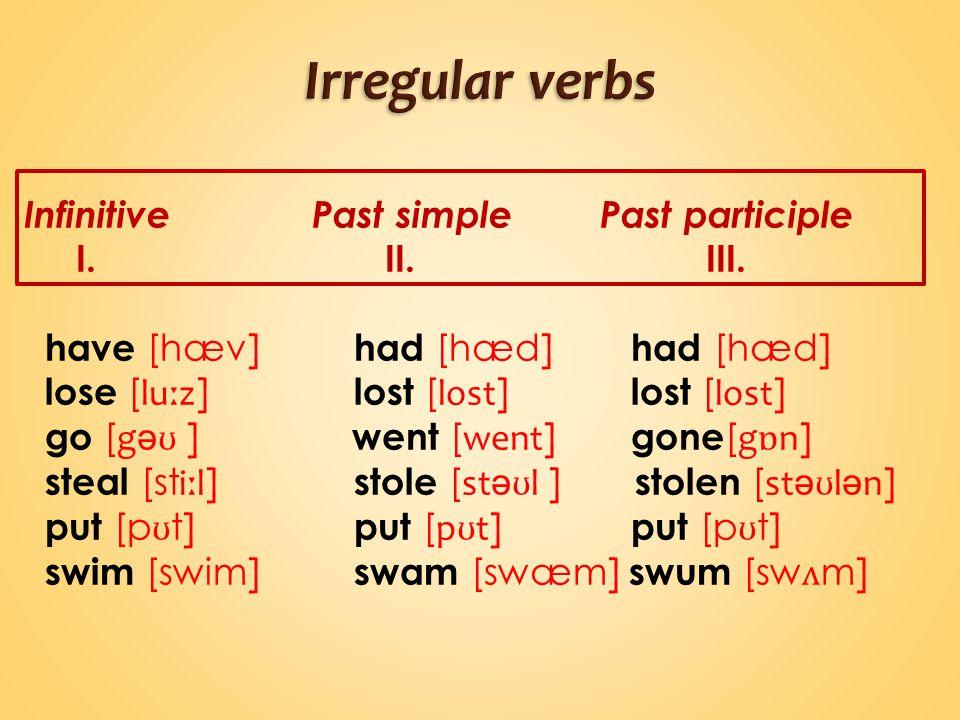 InfinitivePast simplePast participle I. II. III.