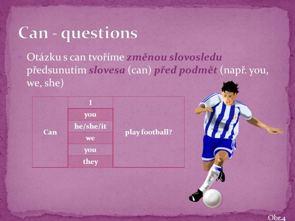 Otázku s can tvoříme změnou slovosledu předsunutím slovesa (can) před podmět (např.